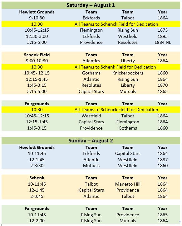 18th annual old time base ball festival august 1 2 doc for Tekerala org time table 2015